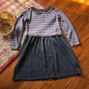 Mini boden blue shimmer striped pan sweater dress